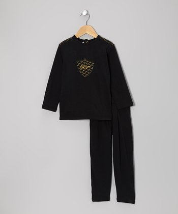 Black & Gold Stitch Top & Pants - Infant, Toddler & Kids