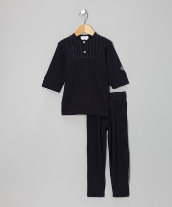 Navy Three-Quarter Sleeve Top & Pants - Infant, Toddler & Boys