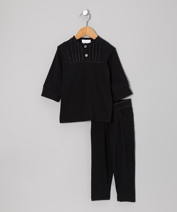 Black Three-Quarter Sleeve Top & Pants - Infant, Toddler & Kids