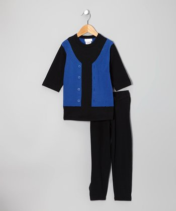 Black & Royal Blue Layered Top & Pants - Infant, Toddler & Kids