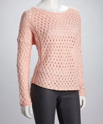 Peach Open-Knit Sweater
