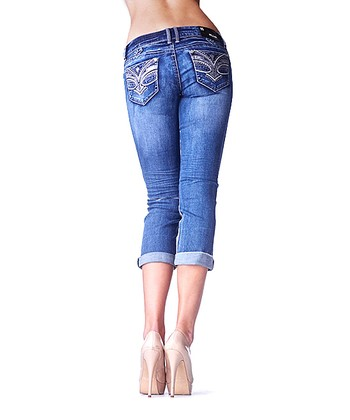 Medium Wash Reptile Capri Jeans