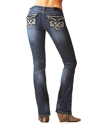 Dark Wash Filigree Bootcut Jeans