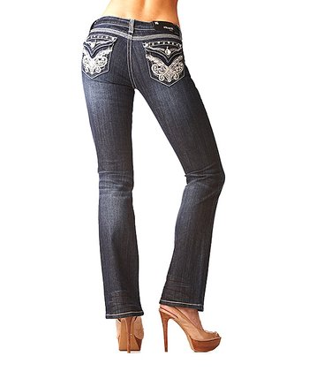 Dark Wash Studded Bootcut Jeans