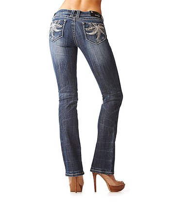 GRACE in LA Medium Wash Floral Scroll Bootcut Jeans