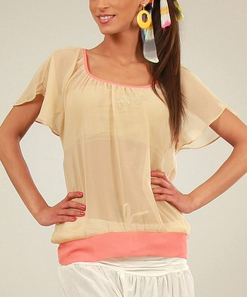 Beige & Coral Sheer Scoop Neck Top