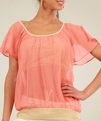 Coral & Beige Sheer Scoop Neck Top