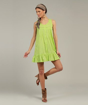 Lime Sleeveless Shirt Dress
