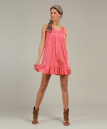 Pink Sleeveless Shirt Dress