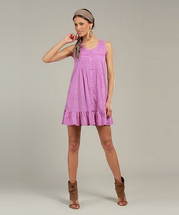 Purple Sleeveless Shirt Dress