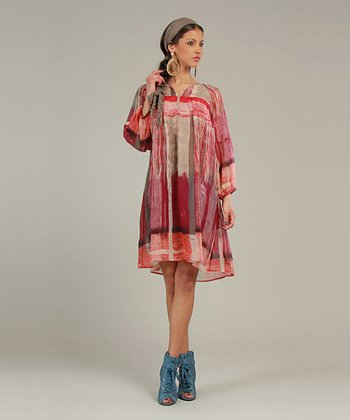 Berry Sheer Abstract Three-Quarter Sleeve Tunic
