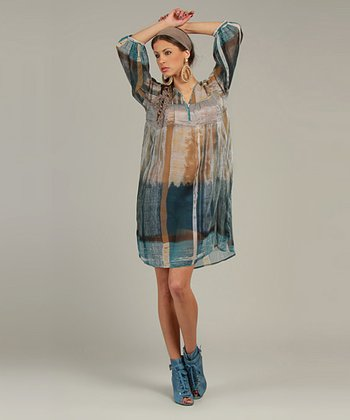 Teal Sheer Abstract Three-Quarter Sleeve Tunic