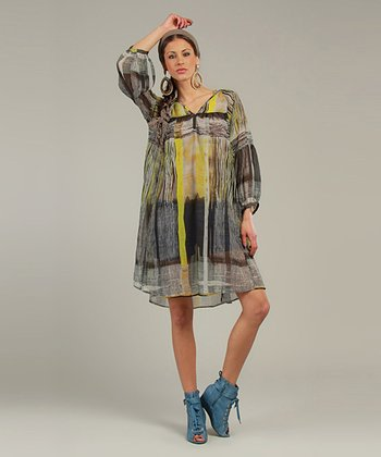Yellow Sheer Abstract Three-Quarter Sleeve Tunic