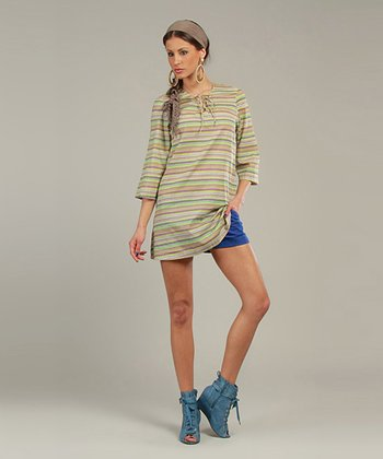 Green Zigzag Three-Quarter Sleeve Tunic