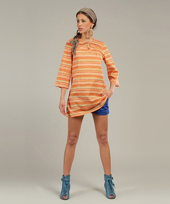 Orange Zigzag Three-Quarter Sleeve Tunic