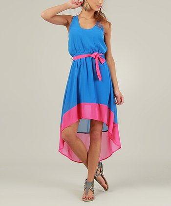 Blue & Fuchsia Sleeveless Hi-Low Dress