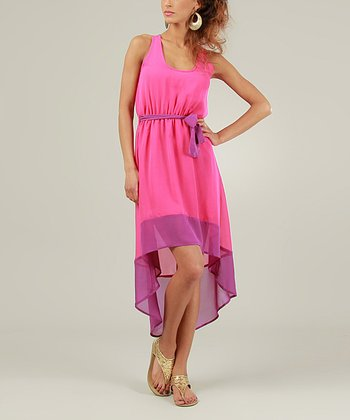 Fuchsia & Purple Sleeveless Hi-Low Dress