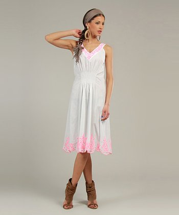 White & Coral Embroidered V-Neck Dress