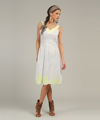 White & Yellow Embroidered V-Neck Dress