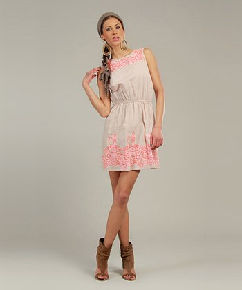 Pink & Orange Embroidered Sleeveless Dress