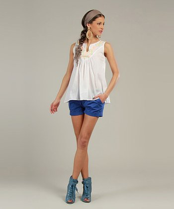 White & Green Embroidered Sleeveless Top