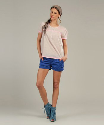 Beige & Pink Sheer Short-Sleeve Henley