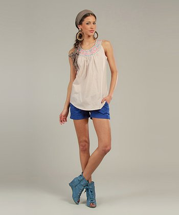 Beige & Turquoise Embroidered Yoke Top