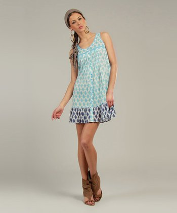 Blue & Ivory Diamond Sleeveless Shirt Dress