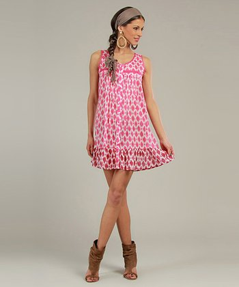 Pink & Ivory Diamond Sleeveless Shirt Dress
