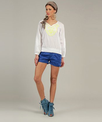 Yellow & White Long-Sleeve V-Neck Top