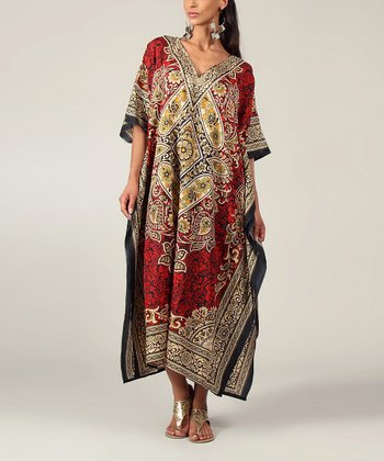 Dark Red Floral Kaftan Dress - Women