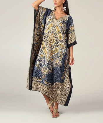 Gray Floral Kaftan Dress - Women