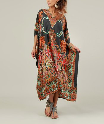 Black & Red Paisley Kaftan Dress - Women