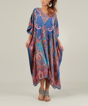 Blue & Red Paisley Caftan Dress - Women