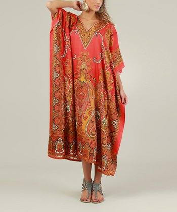Red & Orange Paisley Kaftan Dress - Women