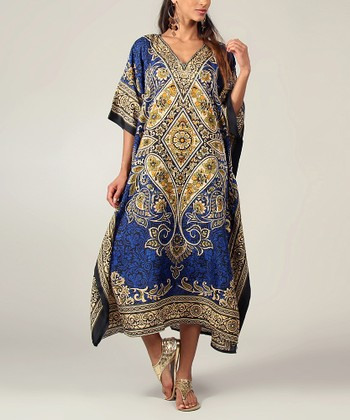 Royal Blue Floral Kaftan Dress - Women