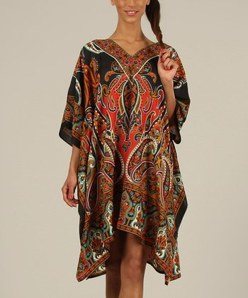 Black & Red Paisley Kaftan V-Neck Dress