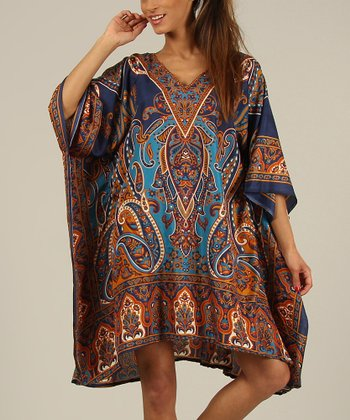 Blue & Brown Paisley Kaftan V-Neck Dress