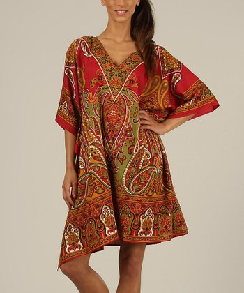 Red & Green Paisley Kaftan V-Neck Dress