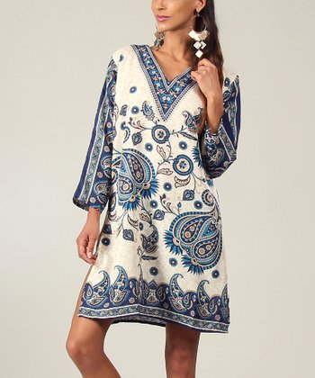 Beige & Blue V-Neck Tunic - Women
