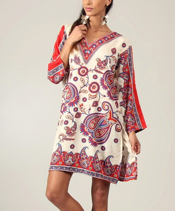 Beige & Red V-Neck Tunic - Women