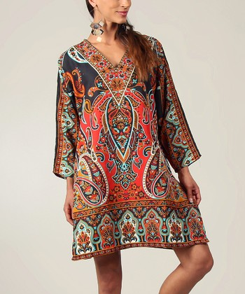 Black & Red Paisley V-Neck Tunic - Women