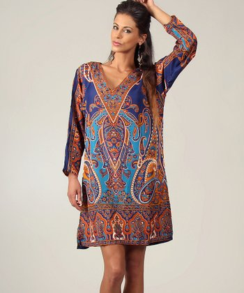 Blue & Turquoise Paisley V-Neck Tunic - Women