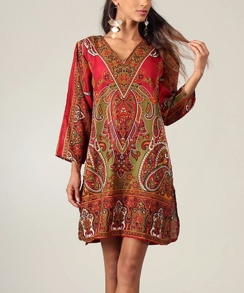 Red Paisley V-Neck Tunic - Women
