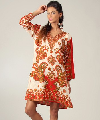 Beige & Red Paisley Tunic