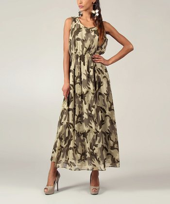 Green Military Sleeveless Maxi