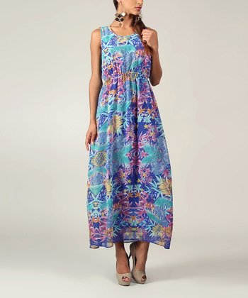 Purple & Blue Tropical Sleeveless Maxi
