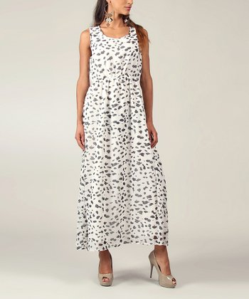 White & Black Leopard Sleeveless Maxi