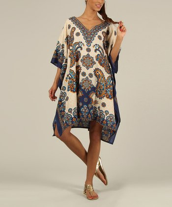 Blue & Gold Kaftan V-Neck Dress