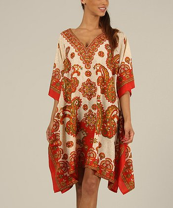 Red & Gold Kaftan V-Neck Dress